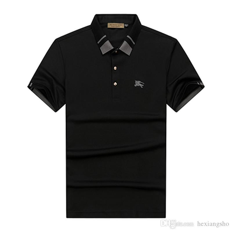 الجديدة 2020 قمصان البولو من قمصان البولو عارضة الرجال من المألوف مصمم الإيطالي الشارات المطرزة قمصان البولو الرجال السود M-3XL # 0224