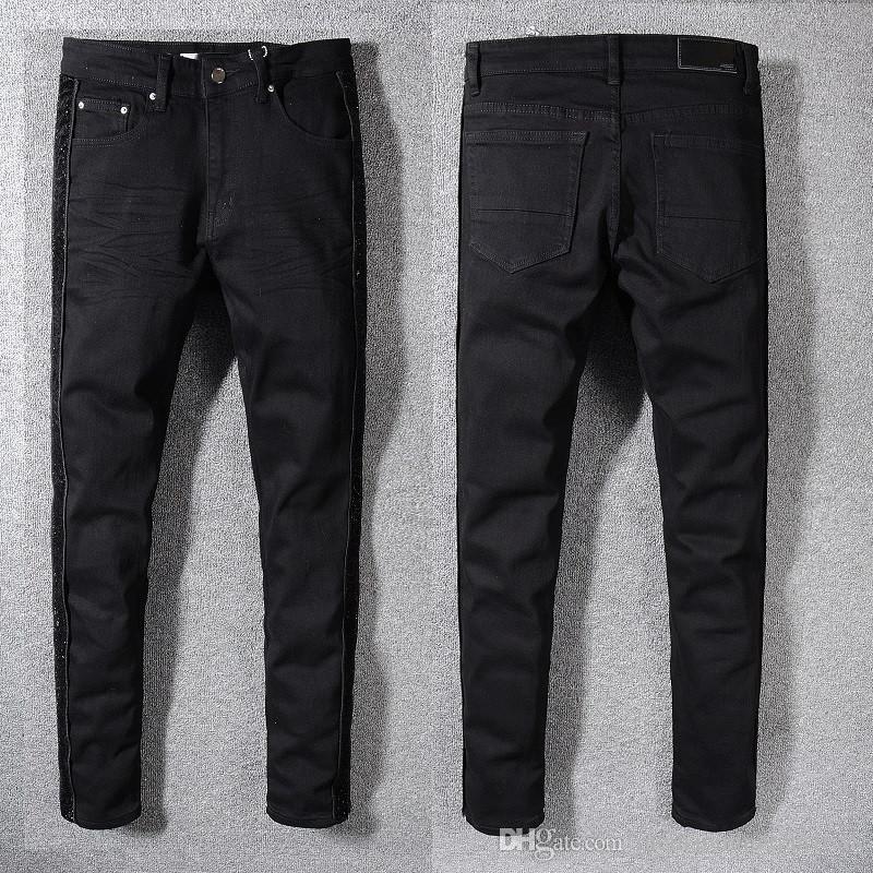 Black Men Buraco Biker Jeans Slim Fit Motociclista Denim calças para homens de Hip Hop Mens buraco Jeans calças compridas