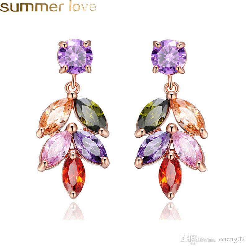 New Fashion Colorful Zircon Leaf Earrings for Women Rose Gold Plated Zircon Leaves Rainbow Drop Earrings Trendy Jewelry for Party Wedding