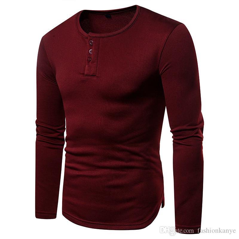 Sonbahar Erkek Ekip Boyun Tees Genç Katı Renk Uzun Kollu Tişörtleri Casual Slim Streetwear Moda Tops
