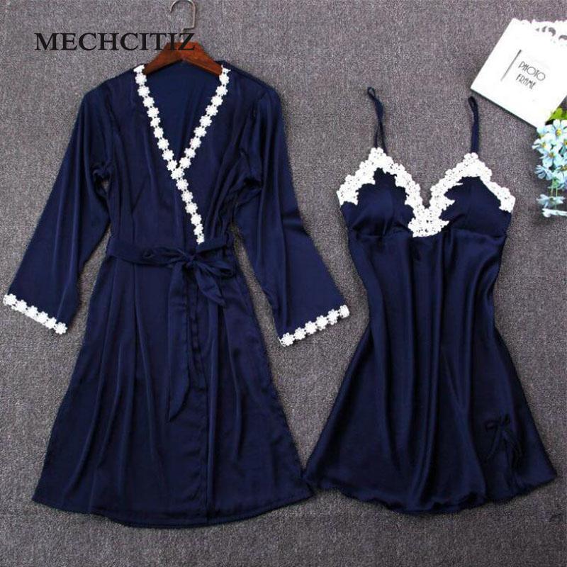 MECHCITIZ 2019 femmes sexy robe robe de soie dentelle robe jeu de sommeil + peignoir deux pièces 5 robe de couleur demoiselle d'honneur de mariage vêtements de nuit V191213