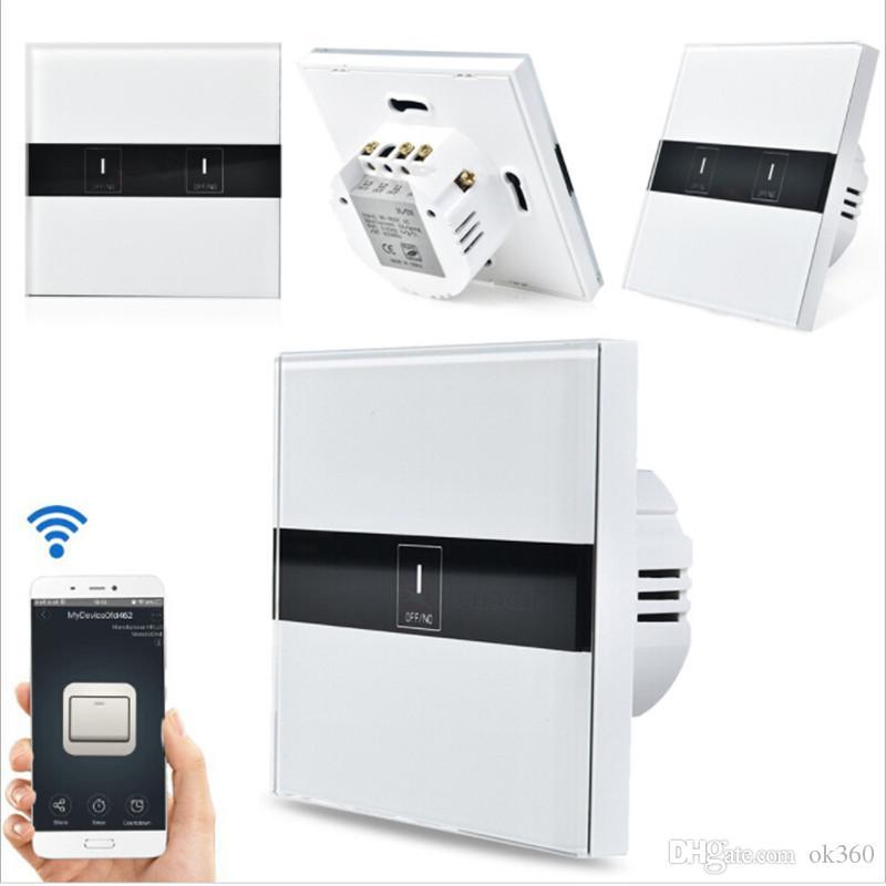 Interruptor padrão do toque do controle de Wifi de EU / UK, interruptor de luz de controle remoto do APP do eWelink através de Android / IOS para o interruptor home esperto do toque da parede