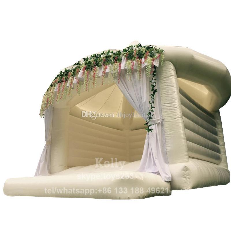 ПВХ брезент прочного надувной батута свадебного для продажи коммерческого надувного белого вышибалу caslte для свадьбы партии малыши Надувного дома