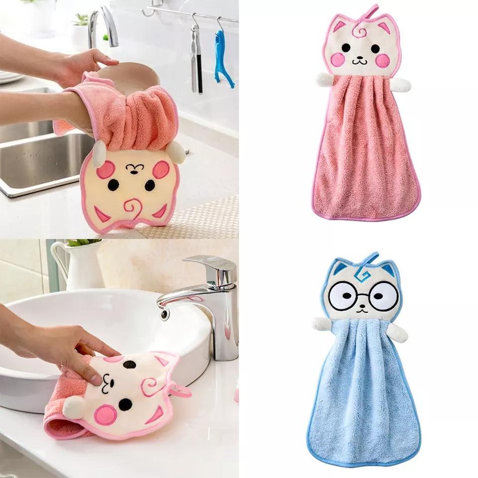 Nettes Karikatur-Küche Neugeborenes Waschlappen Hanging Handtuch Cartoon Handkerchief Badezimmer Katze-Auto-Reinigungstuch Dish Wash Handtuch