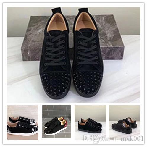 Diseñador de fondo rojo zapatillas Spikes plana Terciopelo gamuza zapatillas de deporte de los hombres de hierro colado para capacitadores 100% cuero auténtico zapatos del partido 0g22