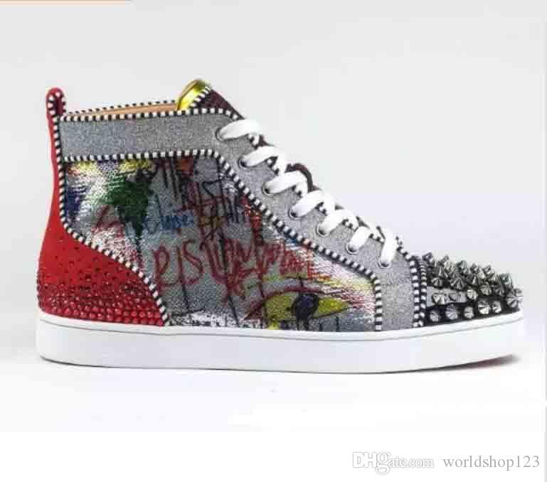 2019 New Chegou Sapatilhas Designer Red Bottom Homens Sapatos de Luxo Impressão de Prata Pik Pik No Limit Rantus Versão studs Strass graffiti Vermelho S