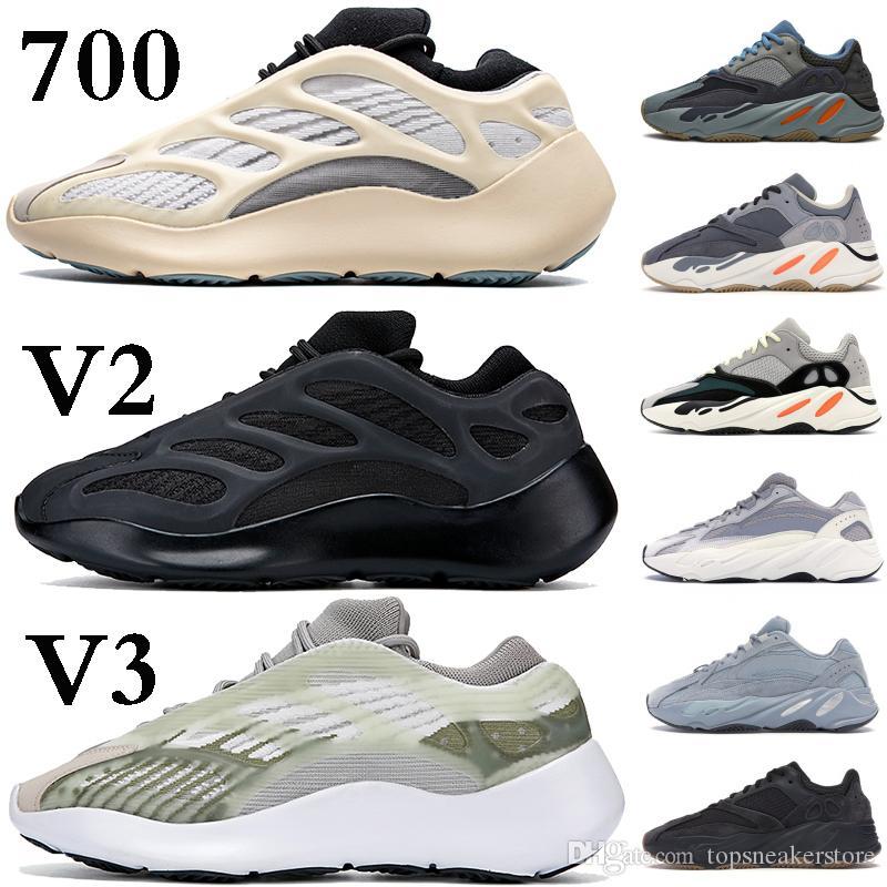Stock X reflectante Kanye West 700 V3 Negro Alvah Azeal para mujer para hombre estilista zapatos blancos esqueleto que brilla en la oscuridad Ejecución de las zapatillas de deporte