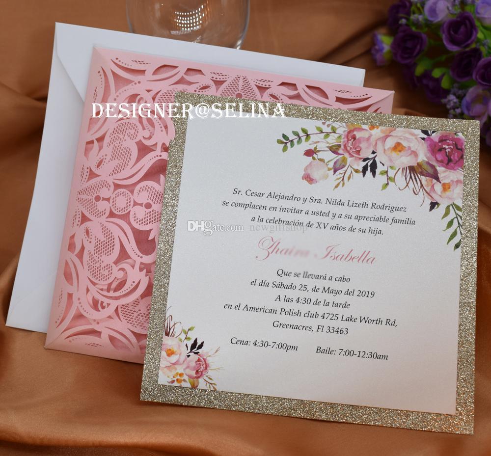 Compre 2019 Pink Laser Cut Quinceanera Invitaciones Con Glitter Inferior Personalizado Impresión Invitaciones Tarjetas Para Bodas Graduaciones De