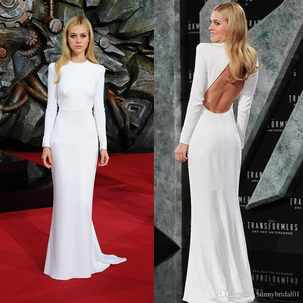 Simple Mermaid Prom Dresses White Tight Sexy Backless Red Carpet Celebrity Gowns Sweep Train Elegant Long Sleeves Evening Formal Dresses