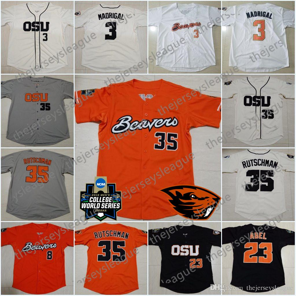 Oregon State Beavers Custom Any Name Any Number Cream Orange Stitched 2018 CWS Patch #35 Adley Rutschman NCAA College Baseball Jerseys S-4XL