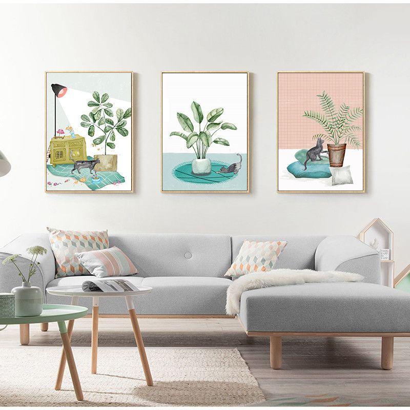 Chat et vert plantes Nordique affiche Lampe De Table chaud Accueil Mur art Affiches imprime Toile Peintures Quadro Chambre Décor photos