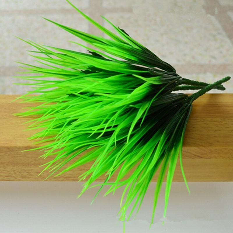 rtificial & Dried Flowers 10Pcs/lot Artificial Fake Grass Green Plants 7 Fork Simulation Plastic Fresh Grass for Aquarium Fish Tank Decor...