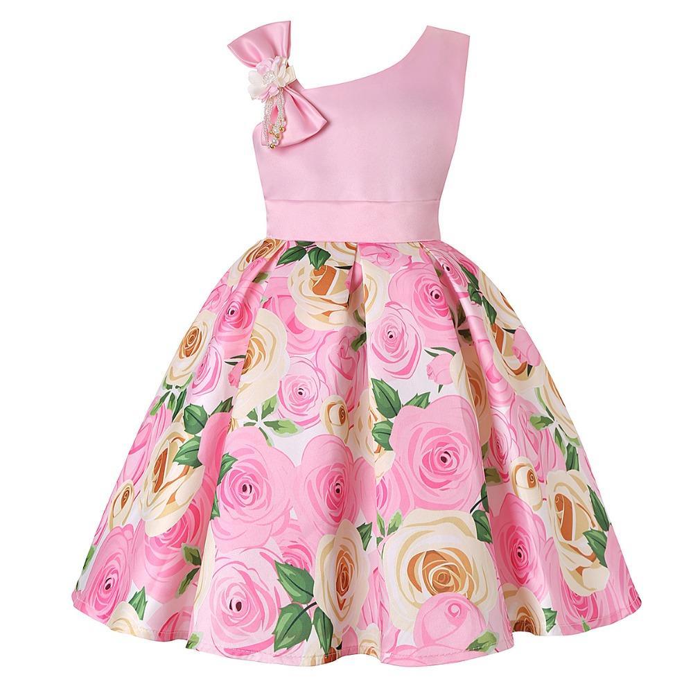 Le ragazze vestono il vestito da un fiore della spalla per il regalo di compleanno delle ragazze Costume principessa ragazza del bambino veste i vestiti dei bambini