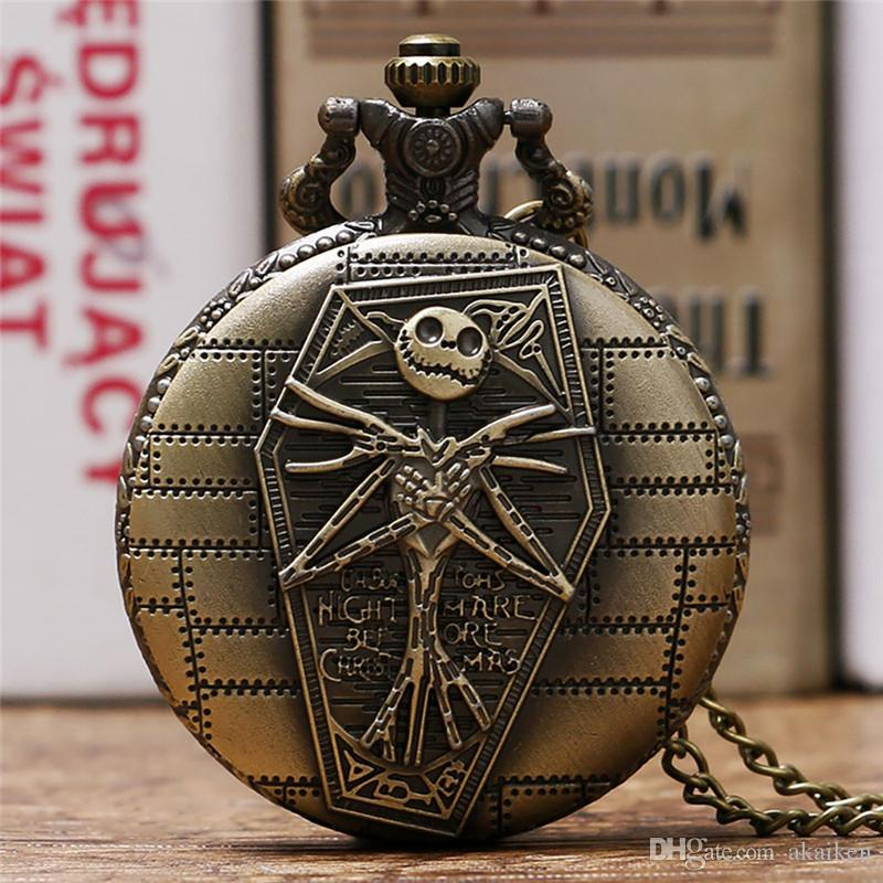 Antique Classic Skull Nightmare Before Christmas Quartz Pocket Watch for Men Women Necklace Chain Timepiece Clock Best Gift