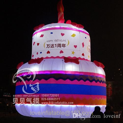 Brilliant 2020 3M Inflatable Birthday Cake For Party With Lightblower From Birthday Cards Printable Inklcafe Filternl