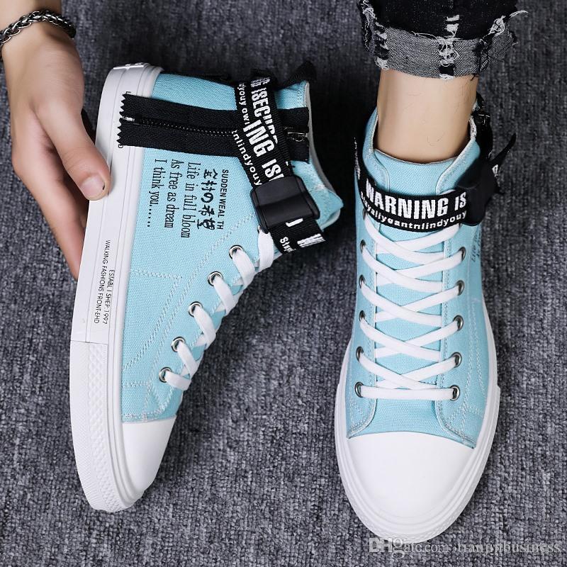 Sonbahar Yüksek taban Vulkanize Ayakkabı Kişilik Yan Fermuar Hip-hop Spor Ayakkabılar Of Erkekler Kore Sürüm
