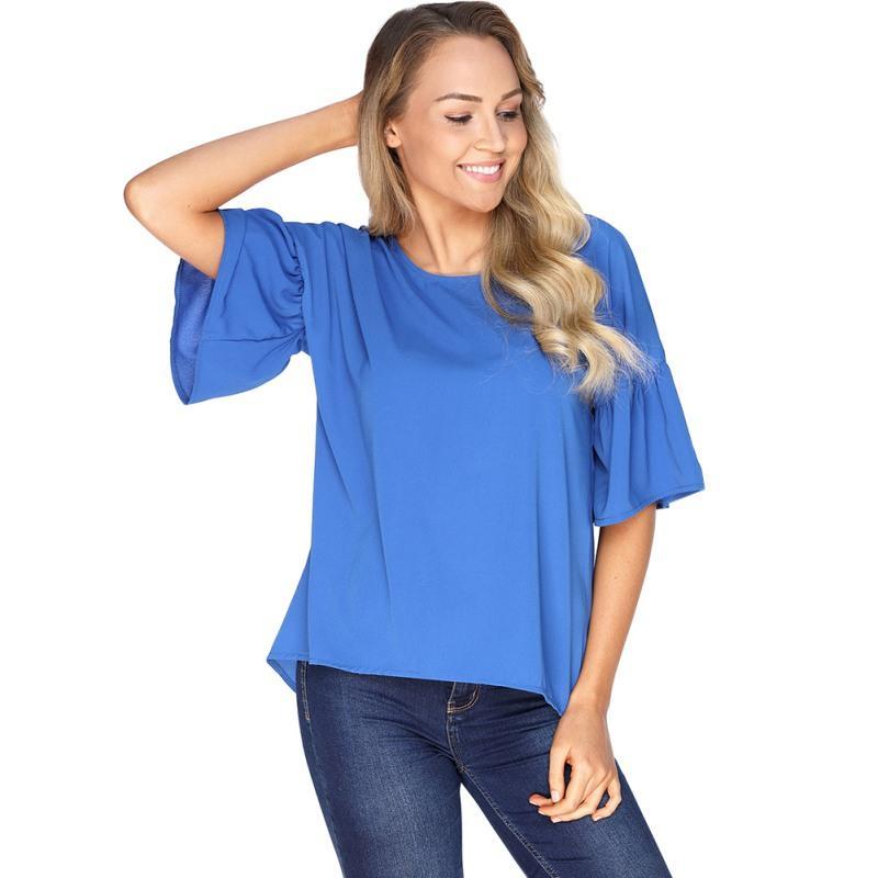 Yaz Kadın Bluz Şifon Gömlek Katı Yarım Kollu O Boyun Kelebek Kollu Bluz Üst Artı Boyutu P4
