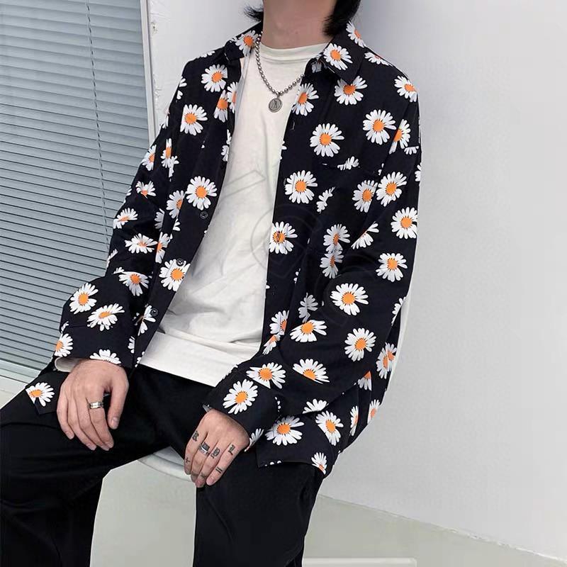 Männer und Frauen hochwertiger schwarze Chrysantheme voller Druck Polo Langarm-Shirt bequem und atmungsaktiv klassischer Stil