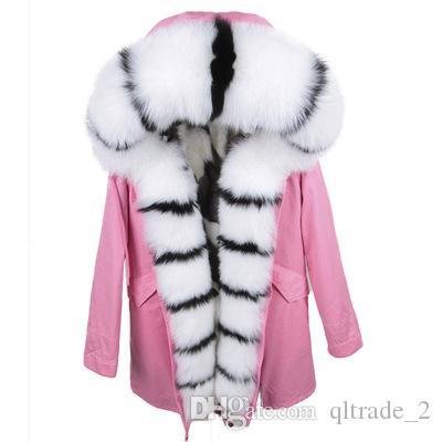 Lavish white black fox fur trim Threshold Maomaokong brand black white plaid fox fur lining black long parkas for women