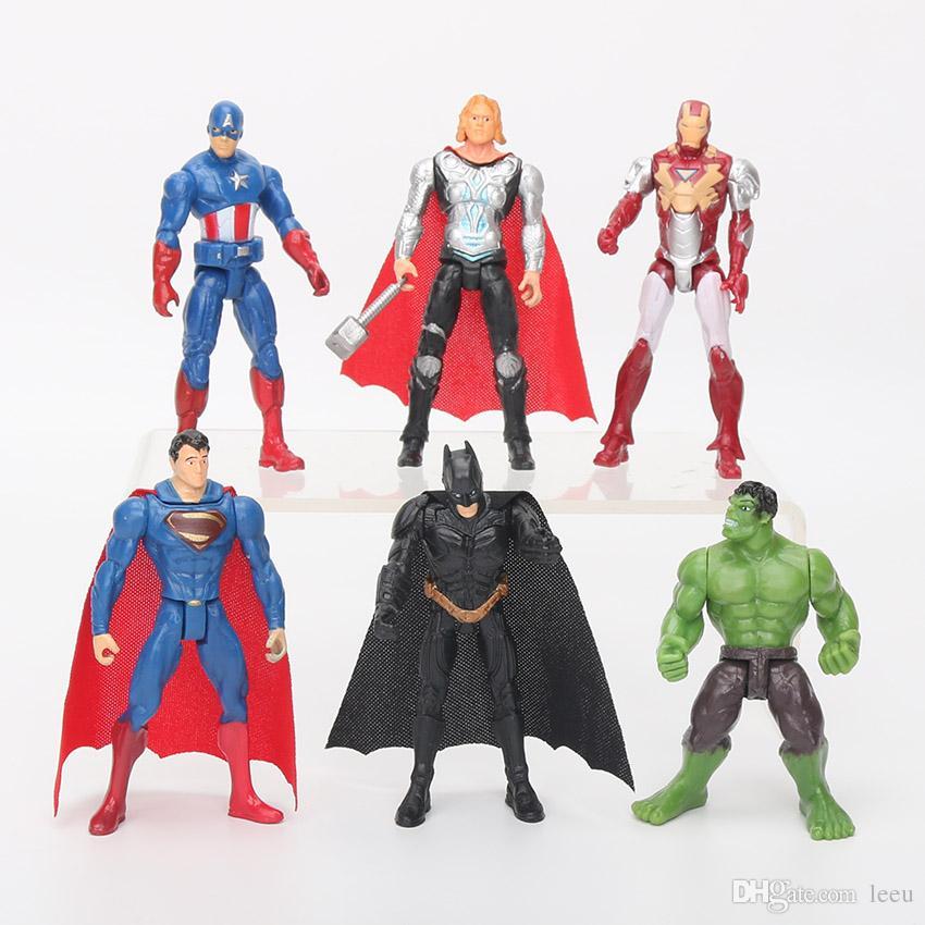 6шт 10.5cm Marvel Мстители игрушки Рисунок Set супергерой Бэтмен Тор Халк Капитан Америка Действие Цифры Коллекционная модель куклы игрушки