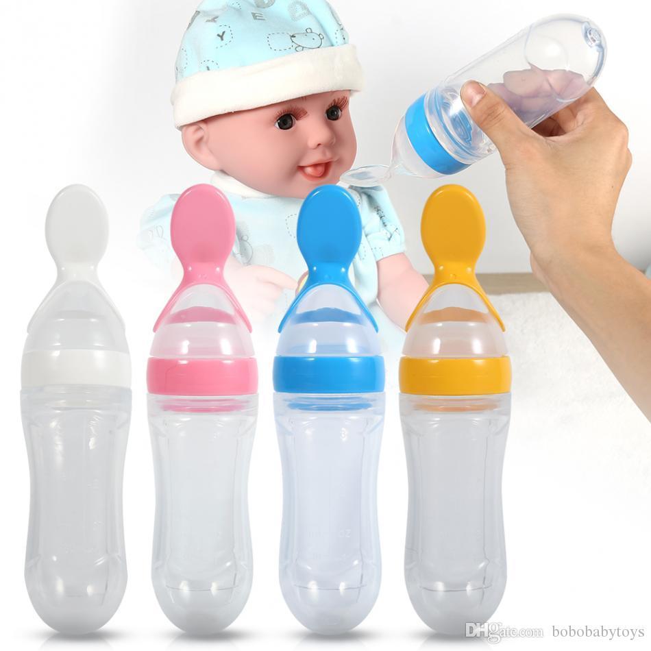 Heißer verkauf 90 mL Silikon Baby Kleinkind Babyflasche Löffel Frische Getreide Squeeze Feeder Training Feeder Geschirr Löffel