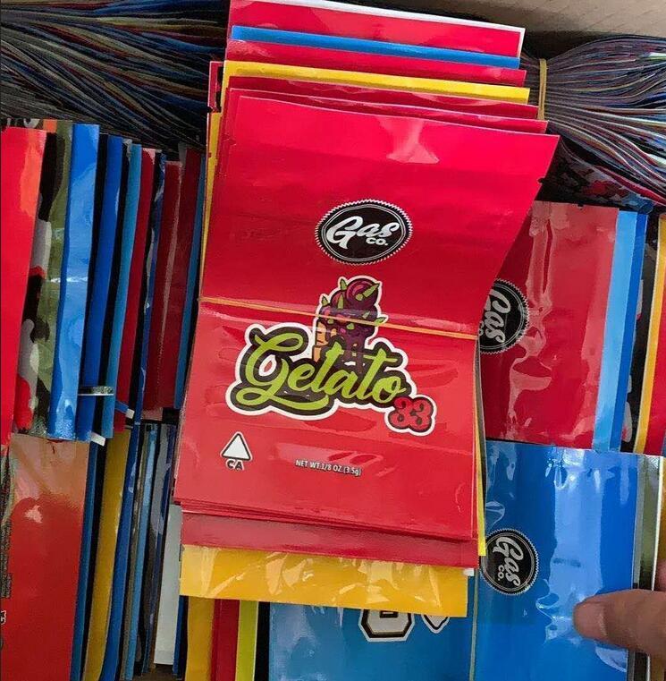 Gasco Mylar Çanta Perakende Paketi 7 Seçenekler Fermuar Çanta 3.5G 1 / 8oz Depolama Ambalajı Kuru Herb Tütün Çiçek California Gaz CO