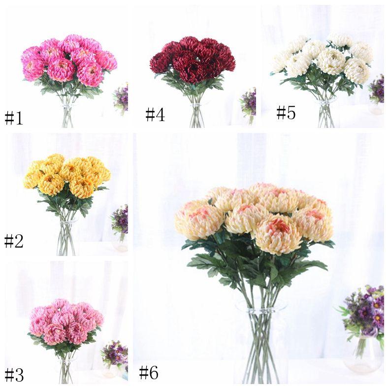 Artificielles Fleurs séchées 7 Pcs Faux seule tige d'ananas Chrysanthème Simulation ronde chrysantemes mariage de maison témoin EEA1205