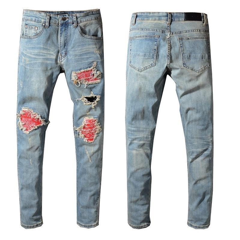 Mode-New Italien Style # 552 # Männer Used-Look Destroyed Pants Red Ripped Patches Blau dünne Biker Jeans-dünne Hose-Größe 29-40