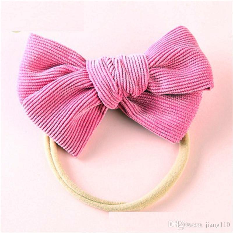 Newborn Baby Toddler Girl Bow Fabric Headband Nylon Hair Band Accessories Orange