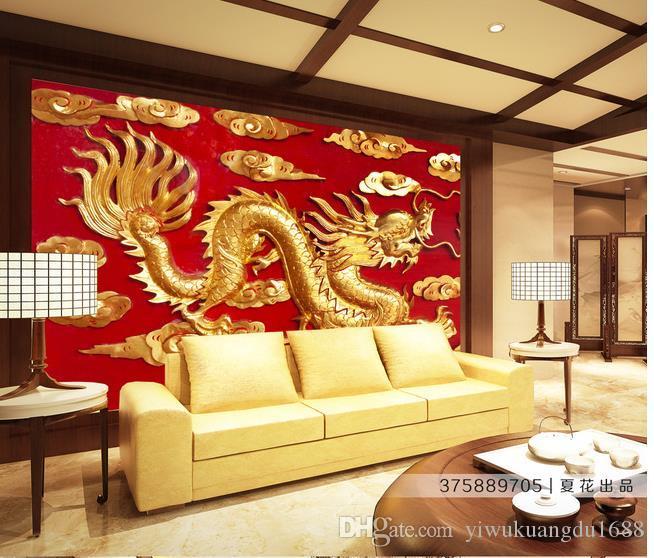 TV 배경에 황금 용 양각 중국어 배경 벽 벽화 3D 배경 화면 3D 벽 논문