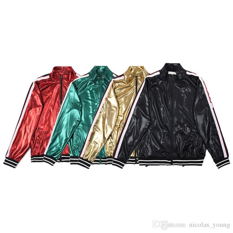 Spring Autumn Brand Mens Tracksuit Shiny Hip Hop Jacket Long Pants 2PCS Sets Sweatshirt Tracksuit Suits Mens Coats Jackets Casual Sweatshirt