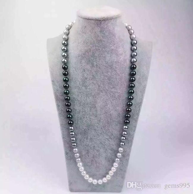 10-11mm Natural Sea Shell Pearl ожерелье Круглого смешанный цвет свитер цепь бисер ожерелье 80см