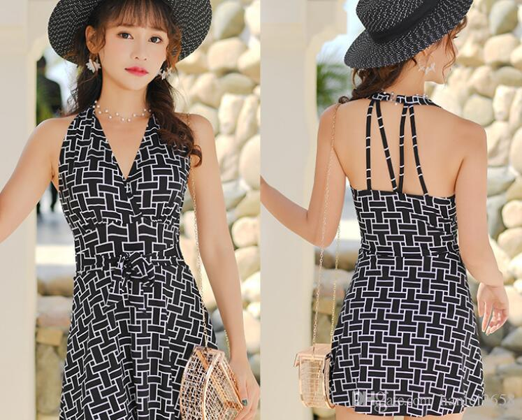 Single body skirt swimsuit woman covered belly thin sexy little chest gathered swimsuit temperament fresh Korean hot spring swimsuit