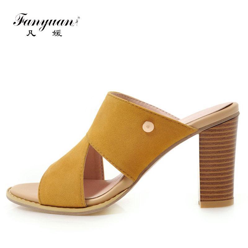 Fanyuan Moda Katı Yaz Terlik Metal Dekorasyon Dışında Sandalet Kare Yüksek topuk ayakkabı Kadın Slaytlar Boyutu 34-43