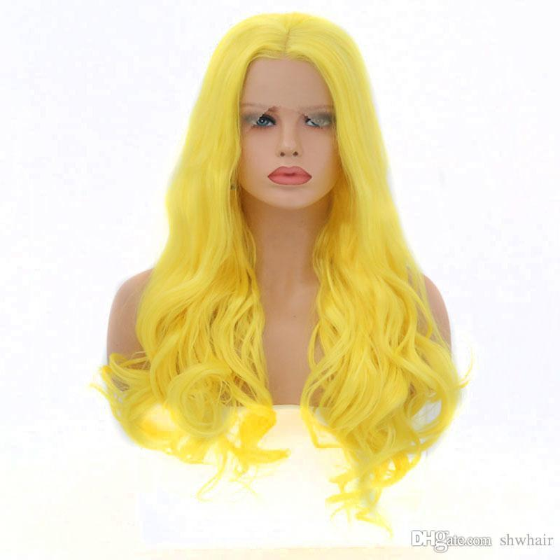 Yellow Synthetic Lace Front Wig Colored Wavy