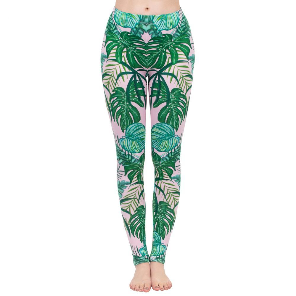 Moda Padrão Mulheres Legging rosa Tropics Impressão com Multicolor Leggins alta elasticidade Legins fitness Calças Leggings