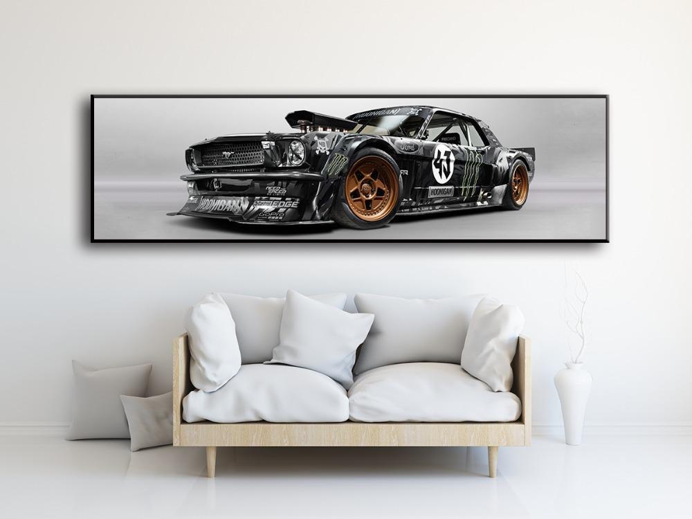 Mural Bild Wohnzimmer Nachthauptdekoration Poster Ford Mustang Rtr Auto-Sportwagen Malerei Leinwand HD Druck rahmenlos