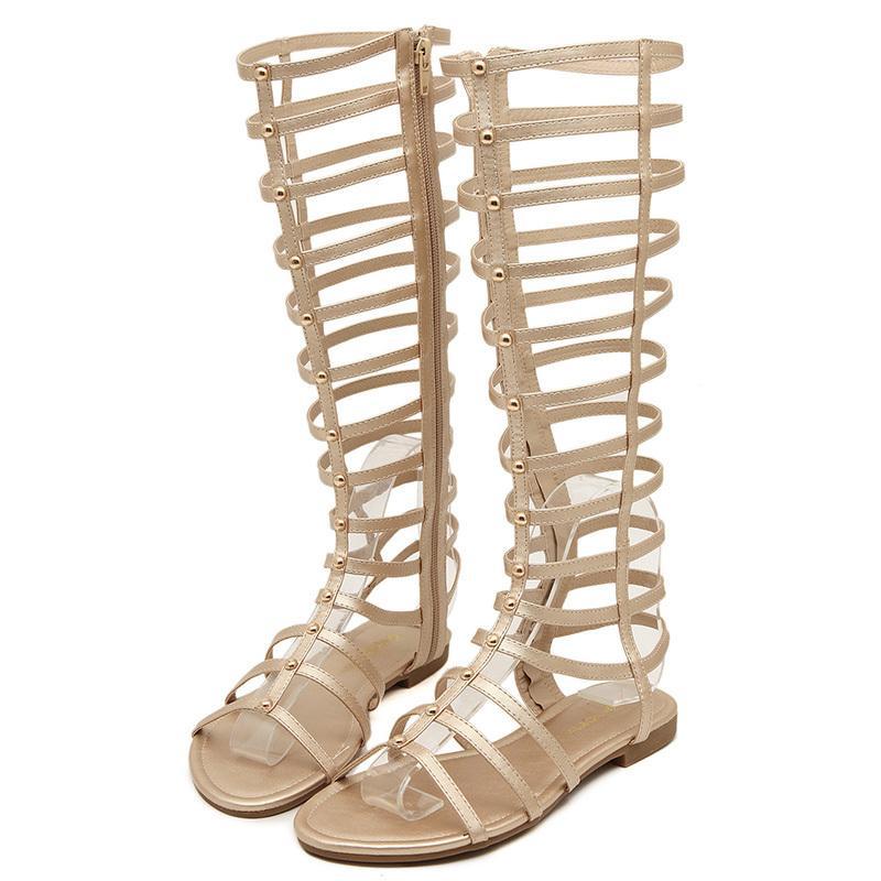 Hot Sale-ndals Mulheres Joelho Gladiator Sandals Roma Abrir Toe Verão sapatos para senhoras; S120310