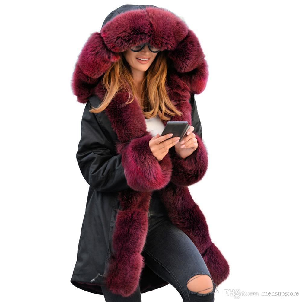 Kış Kalın Kadınlar Aşağı Ceket Palto Kürk Yaka Sıcak Ordu Yeşil Uzun Gevşek Palto Parkas Siyah