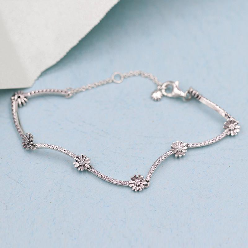 2020 New Spring Collection Sparkling Daisy Flower Bracelet 925 Sterling silver Bracelets for women fit charms beads DIY Jewelry