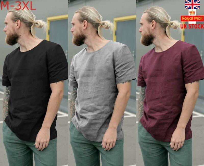 Los hombres de moda casual de manga corta camiseta Slim Fit Casual tapas de la camiseta de lino ropa culturismo muscular tee formal de la blusa de lino