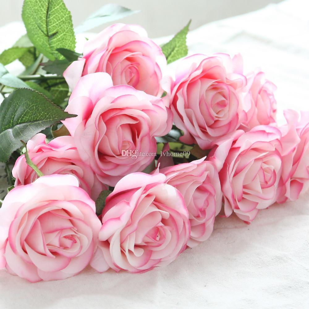 12 pçs / lote Flores Artificiais Látex Real Toque Rose Flores Bouquet De Casamento Em Casa Do Partido Flores Falso Decor Rose Fontes Do Partido