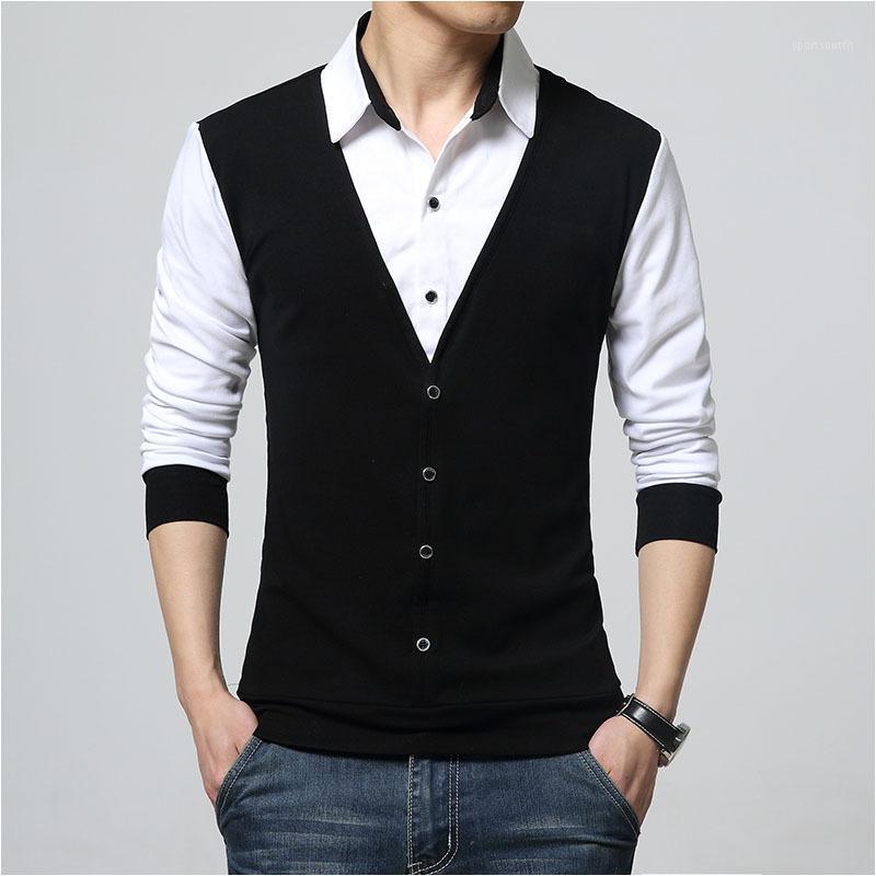 BROWON 가을 남성 T 셔츠 패션 2017 가짜 두 의류 T 셔츠 남성 긴 소매 T 셔츠 캐주얼 Male1 쿨