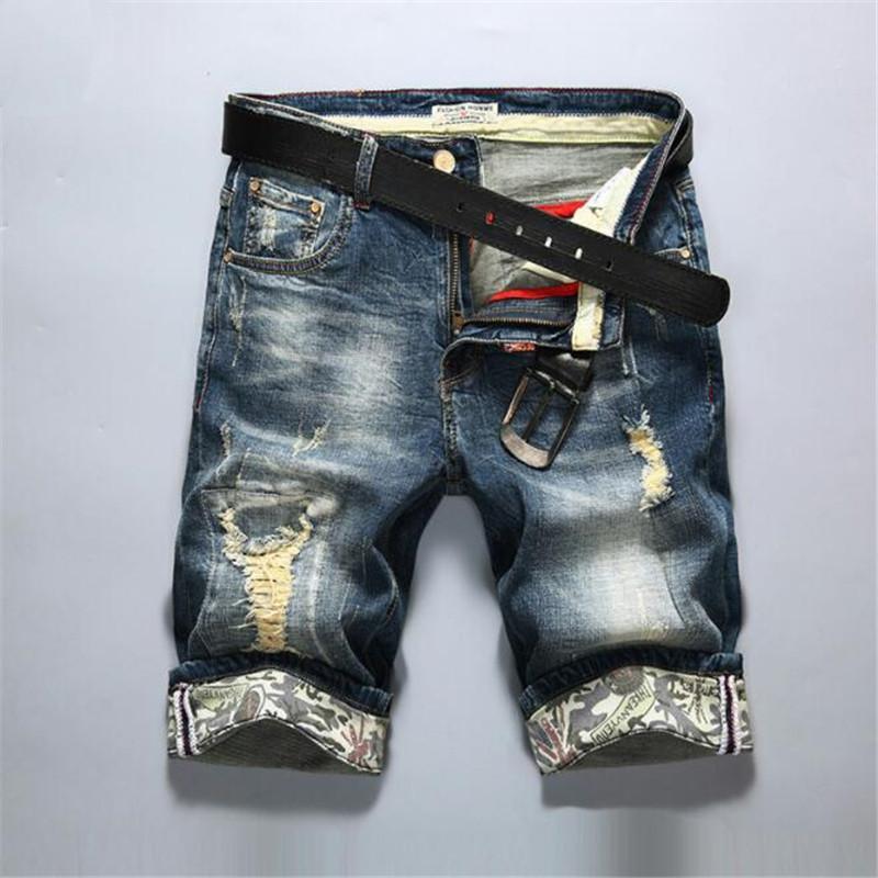 2019 nuevos Mens forman jeans rasgados cortos Ropa de la marca del algodón del ocio cortocircuitos transpirable pantalones cortos de mezclilla pantalones cortos masculinos de la personalidad