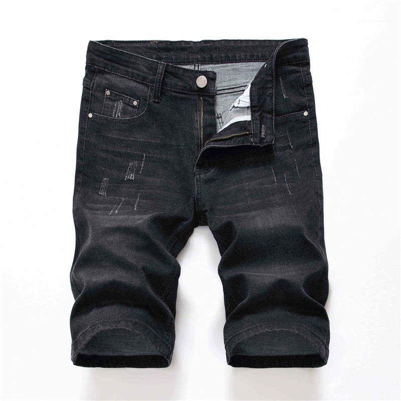 Gri Erkek Stretch Jeans Moda Erkek Giyim Tasarımcısı Düz Jean Şort Yaz Skinny Delikleri Siyah Mens
