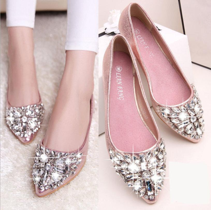 Hot sale- casual high fashion shoe designer bridal woman shoe fashion woman leather flat crystal low heel wed shoe woman