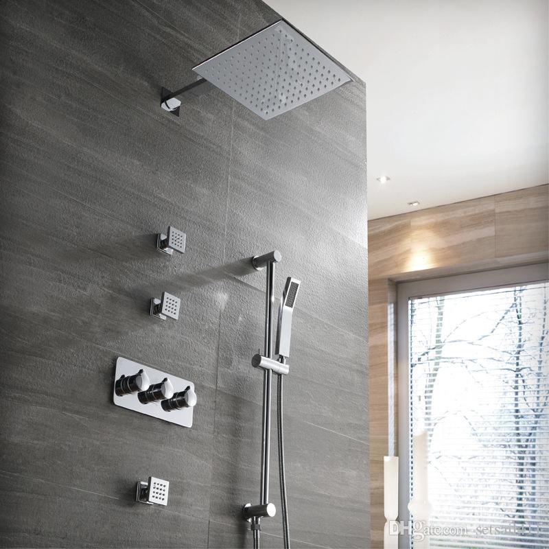 250 * 250 milímetros Home Improvement banho Faucet Chrome Set Hot and Cold Misturando válvula Tap Latão Rian Shower Sistema Oculto Mixer