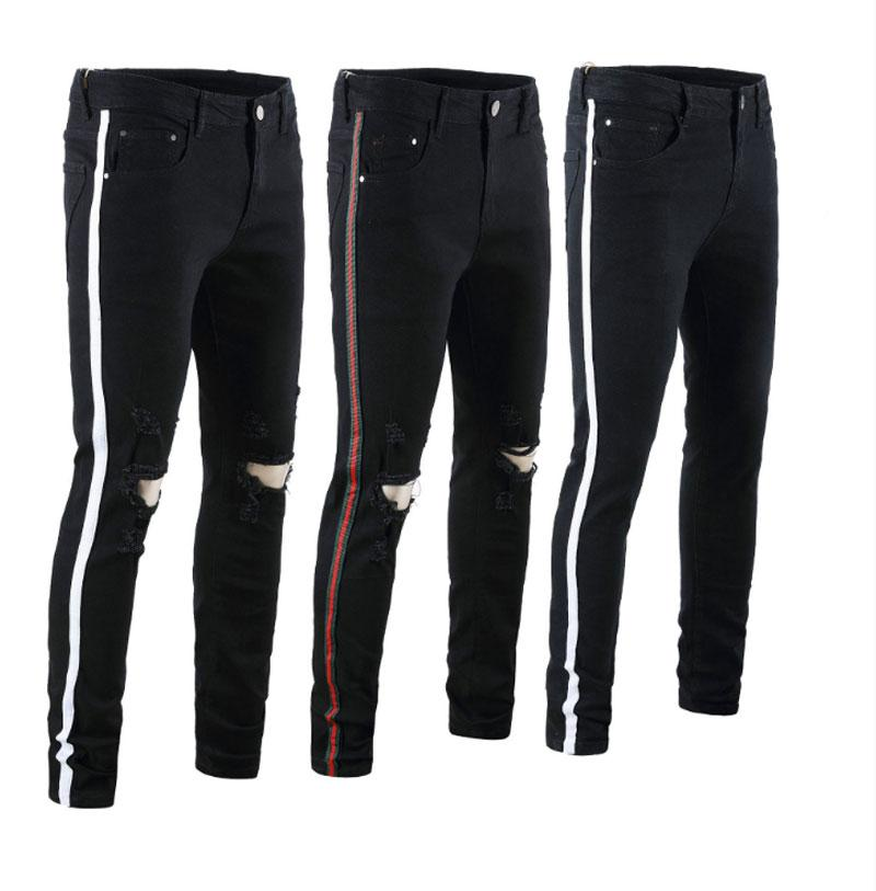 Men Skinny jeans Piping Casual Slim Denim Knees Holes Ripped Pants High quality Free Shipping