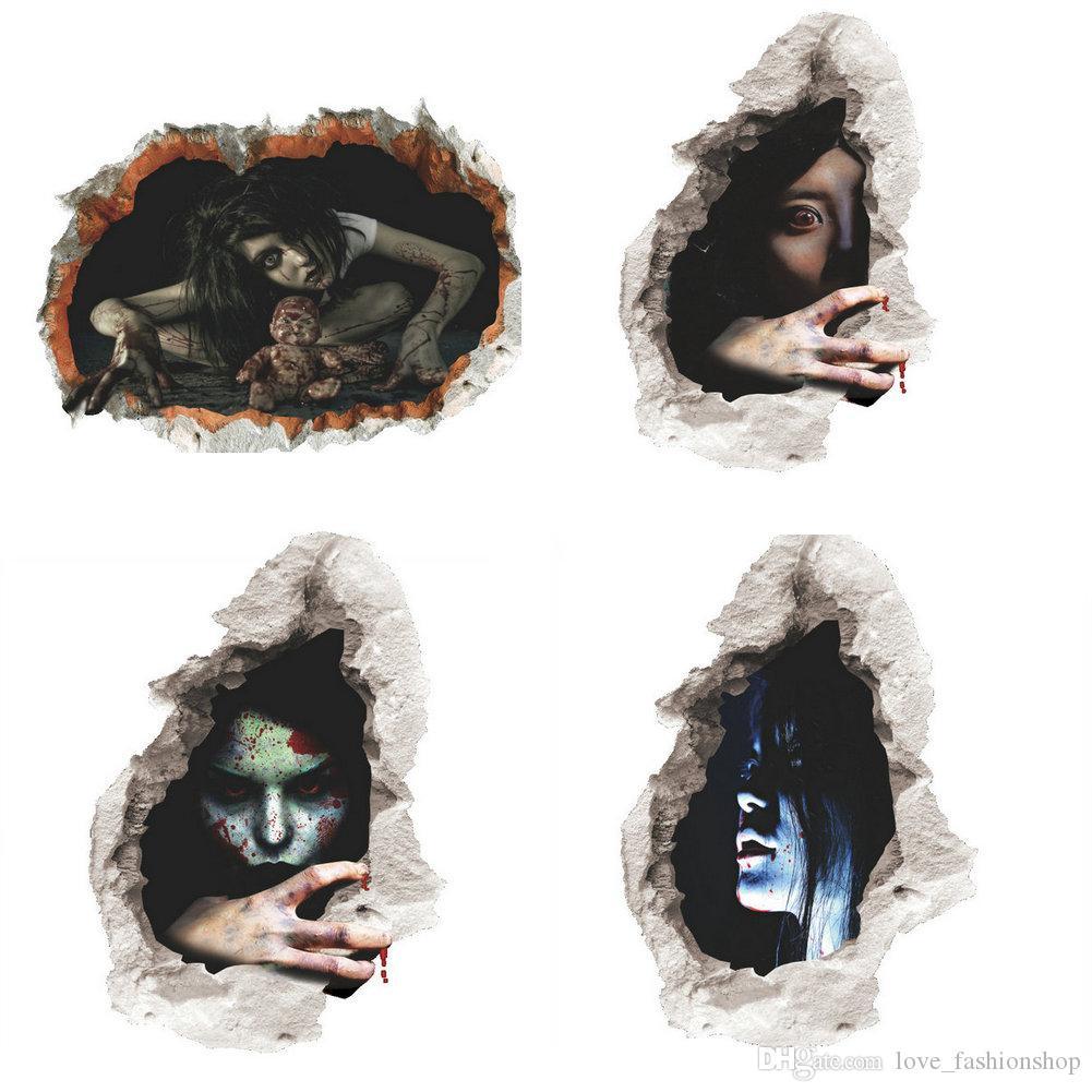 التجزئة 4 ألوان الاطفال هالوين 3d أنثى شبح ملصقات الحائط غرفة المعيشة ملصقا ديكور المنزل الديكور إمدادات ملصقات للماء
