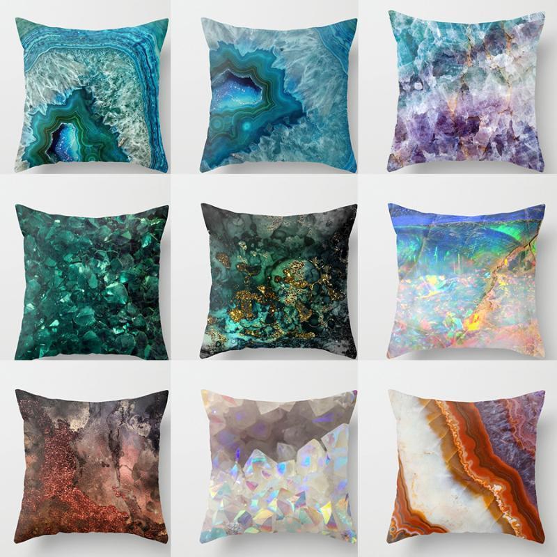 Marble Geometric Sofa Decorative Cushion Cover Square Burlap Throw Pillow Case